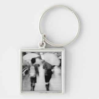 Asia, Japan, Tokyo. Young women and umbrellas. Silver-Colored Square Keychain