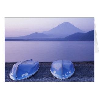 Asia, Japan, Yamanashi, Rowboats on Motosu Lake Greeting Card