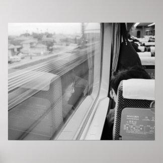 Asia, Japón. A bordo del tren de bala de Shinkanse Póster