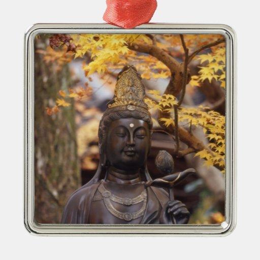Asia, Japón, Buda Adorno Navideño Cuadrado De Metal