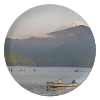 Asia, Japón, Hakone. Opiniones de la madrugada del Plato De Cena