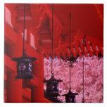Asia, Japón, Kyoto, capilla de Heian en primavera Azulejo Cuadrado Grande