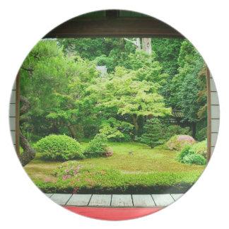 Asia, Japón, Kyoto. Jardín 2 del zen Plato De Cena