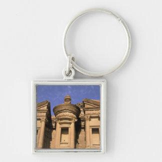 Asia, Jordan, Petra. El Deir, the Monastery. 2 Silver-Colored Square Keychain