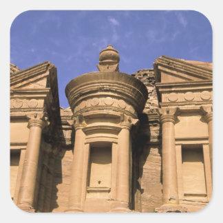 Asia, Jordania, Petra. EL Deir, el monasterio. 2 Pegatina Cuadrada