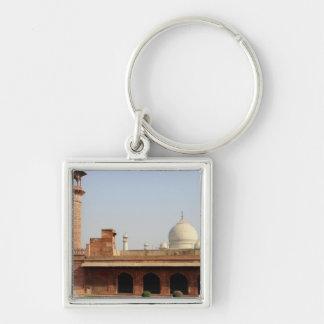 Asia, la India, Uttar Pradesh, Agra. El Taj 6 Llavero Cuadrado Plateado
