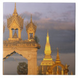 Asia, Laos, Vientián. Ese templo de Luang Azulejo Cuadrado Grande
