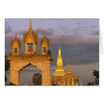Asia, Laos, Vientiane. That Luang Temple. Cards