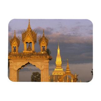 Asia, Laos, Vientiane. That Luang Temple. Rectangular Photo Magnet