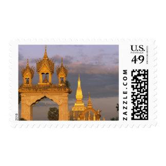 Asia, Laos, Vientiane. That Luang Temple. Stamp