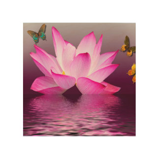 Asia Lotus Flower with Butterfly Wood Wall Decor