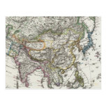 Asia Map by Stieler Postcard