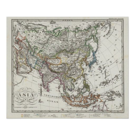 Asia Map by Stieler Poster