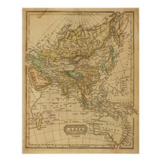 Asia  Map by Worcester Poster