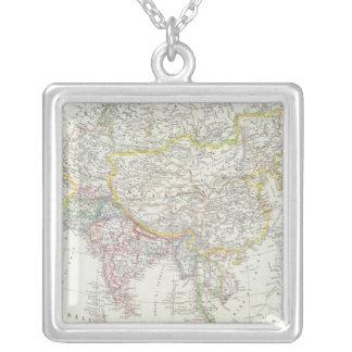 Asia Map Square Pendant Necklace