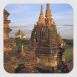 Asia, Myanmar, Bagan. Ancient temples and Square Sticker