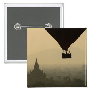 Asia, Myanmar, Bagan, balloon over temples of 2 Inch Square Button