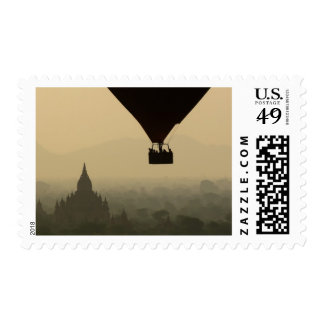 Asia, Myanmar, Bagan, balloon over temples of Postage