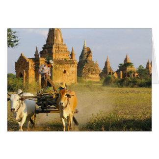 Asia, Myanmar (Birmania), Bagan (Pagan). Un carro  Tarjeta De Felicitación