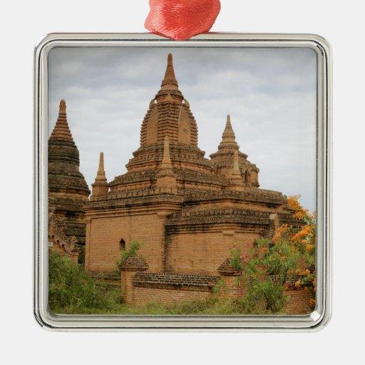 Asia, Myanmar Birmania), Pagan de Bagan). Diverso Adorno Cuadrado Plateado