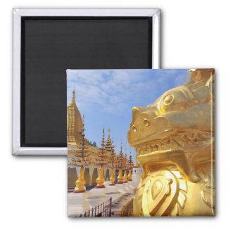 Asia, Myanmar (Burma), Bagan (Pagan). The Shwe 4 2 Inch Square Magnet