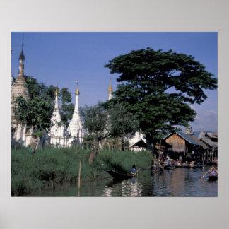 Asia, Myanmar, Inle Lake. A floating market. Poster