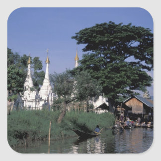 Asia, Myanmar, Inle Lake. A floating market. Square Sticker