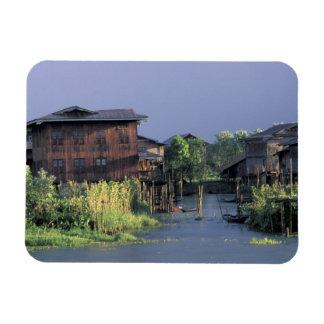 Asia, Myanmar, Inle Lake. A floating village on Magnet