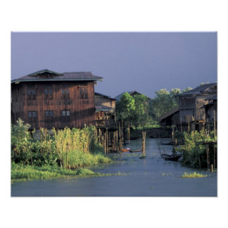 Asia, Myanmar, Inle Lake. A floating village on Poster