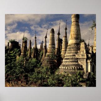 Asia, Myanmar, Inle Lake. Ancient ruins of Poster