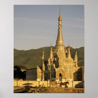 Asia, Myanmar, Inle Lake. Pagodas. Poster