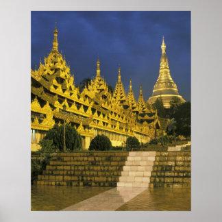 Asia, Myanmar, Rangún. Pagoda de Shwedagon en Poster