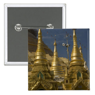 Asia, Myanmar, Yangon. Golden stupa of Shwedagon Pinback Button