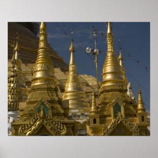 Asia, Myanmar, Yangon. Golden stupa of Shwedagon Poster