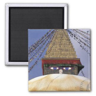 Asia, Nepal, Kathmandu. Bouddhanath Stupa. 2 2 Inch Square Magnet