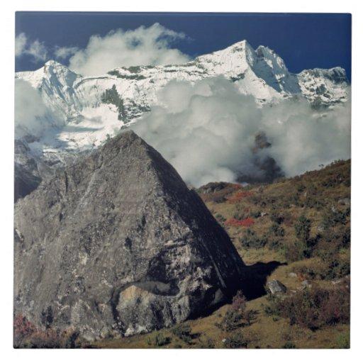 Asia, Nepal, Sagarmatha NP. Un rezo budista Azulejo Cuadrado Grande