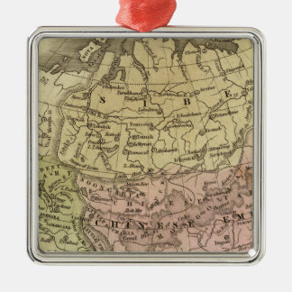Asia Olney Map Square Metal Christmas Ornament