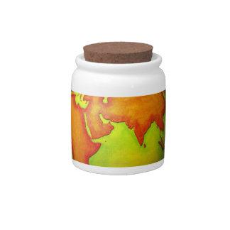 Asia on a Globe Candy Jars