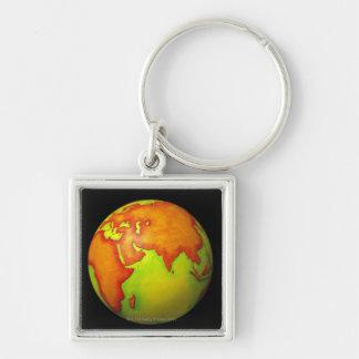 Asia on a Globe Keychain