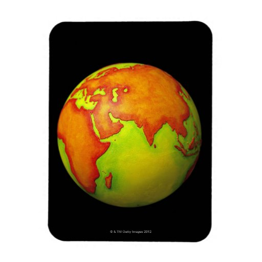 Asia on a Globe Rectangle Magnet