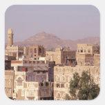 Asia, Oriente Medio, República de Yemen, Sana'a. Pegatina Cuadrada