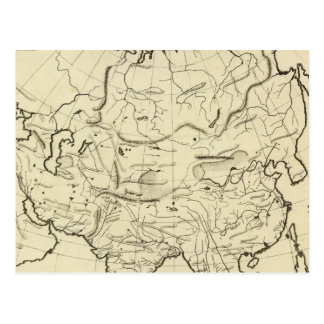 Asia outline map postcard