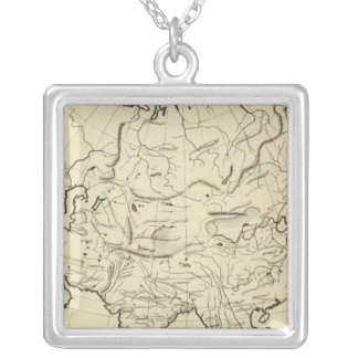 Asia outline map square pendant necklace