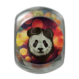 Asia Panda Bear with Bokeh Style Glass Jars