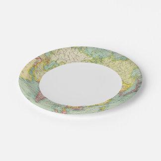 Asia political atlas map paper plate