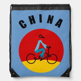 Asia scene bike rider drawstring backpack