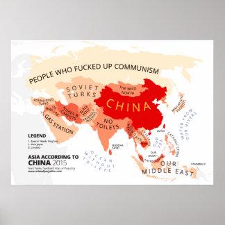 Asia según China Póster