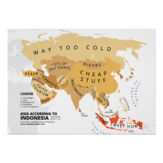 Asia según Indonesia Póster