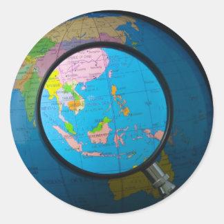 Asia sudoriental en foco pegatina redonda