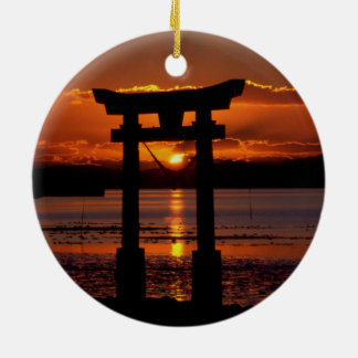 Asia Sunset Double-Sided Ceramic Round Christmas Ornament